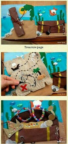 Pirate/Treasure page for quiet book. (Could make a whole pirate book and they have to find clues or complete map to get to treasure. Treasure box have real suitcase lock)
