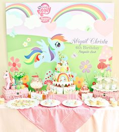 Rainbow Dash Inspired My Little Pony Party // Hostess with the Mostess® Rainbow Dash Party, Rainbow Unicorn Party, Rainbow Parties, My Little Pony Party, Cumple My Little Pony, Baby Showers, Decoration Table, Birthday Parties, Birthday Ideas