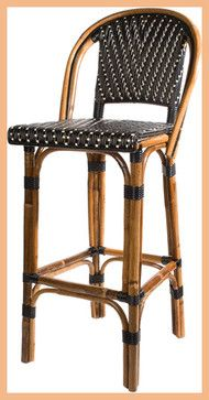 French Bistro Barstool with Back - Black/Cream - mediterranean - bar stools and counter stools - maison-midi.com