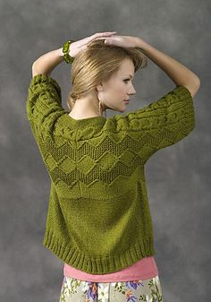 Free knitting pattern for Sapporo Cardigan with short sleeves and chevron pattern