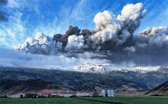 Eruption of the Iceland volcano. The sight of the ash cloud is beautiful.