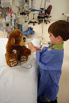 The patient is the doctor. Medical play is a therapeutic activity for children. It helps them to act out their fears, have questions answered, and feel empowered.