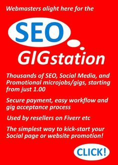SEO Gigstation - the SEO and social media microjob/gig marketplace loved by webmasters - thousands of services boost your website rankings and social media presence the easy way starting form just 1.00