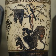 "Heracles' First Labor: The Nemean Lion - III | Attic white ground black-figured lekythos Made in Athens Attributed to ""The Diosphos Painter"" and ""The Diosphos Potter"" About 500-450 BC Paris, Musée du Louvre"