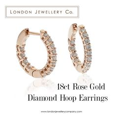 18ct #Rose #Gold #Diamond #Hoop #Earrings