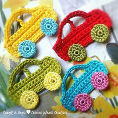 "Cars fridge magnets ♥♥ [   ""Car applique: Crochet Pattern Central - Directory of Free, Online"",   ""cars idea only"",   ""Car Appliques - hère they are!"",   ""cars cute idea for a boys afghan."",   ""Cars (just the idea) / Cotxes (sense patró)"",   ""Crochet cars to embelllish crocheted toddler projects."",   ""cars - I didn"