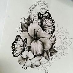 45 Wonderful Butterfly Tattoo Ideas For Tattoo Lovers - Page 48 of 99 - CoCohots Rose Tattoos, Flower Tattoos, Body Art Tattoos, Sleeve Tattoos, Butterfly Drawing, Butterfly Tattoo Designs, Butterfly On Flower Tattoo, Butterfly Sleeve Tattoo, Tattoo Sketches