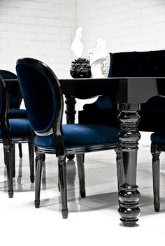 """Bel Air dinning table in high gloss black with black mirror top and modern turned leg and carving detail on all 4 sides. Dimensions: 96"""" W x 38"""" D x 30"""" H * To inquire about custom options, please con"""