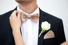 Rose gold bow tie and handkerchief – Gold Wedding Gowns Gold Wedding Gowns, Wedding Ties, Wedding Groom, Wedding Wear, Wedding Attire, Dream Wedding, Lace Wedding, Wedding Tuxedos, Rose Gold Tie