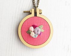 Embroidered Floral Mini Hoop Necklace by TillyandFloss on Etsy