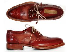 PAUL PARKMAN MEN'S WINGTIP OXFORDS BORDEAUX & CAMEL