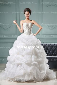 Darling Puffed Wrinkled Sweetheart Ball Gown Wedding Dress With Beaded Embroidery