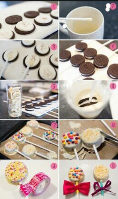 Oreo Pops dipped in white chocolate using ribbons as decoration. Oreo Cake Pops, Oreo Frosting, Easy Desserts, Dessert Recipes, Oreo Desserts, Mousse Au Chocolat Torte, Chocolate Covered Treats, Brunch, Food Platters