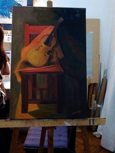 Oleo s/tela  | guitarra y silla