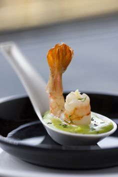Butter garlic prawns with a tangy wasabi dip