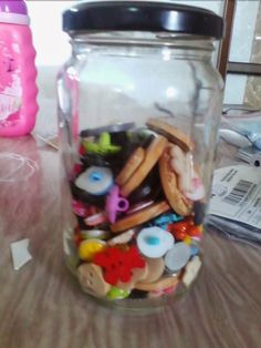 My button jar, something for my children to play with, like I played with my Mum's button jar. Mason Jars, Buttons, Blog, Mason Jar, Blogging, Glass Jars, Jars, Plugs