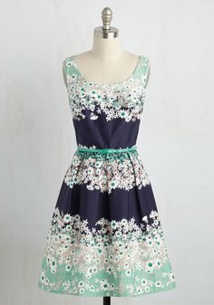Charm Consultant Dress - Multi, Mint, Floral, Print, Daytime Party, A-line, Sleeveless, Spring, Woven, Better