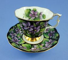 Royal Albert Provincial Flowers Rurple Violet Tea Cup and Saucer Set | eBay