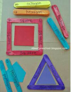 Making shapes with popsicle sticks!