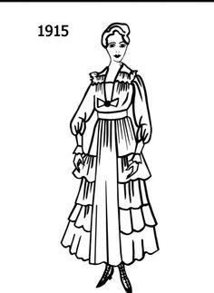 fashion silhouette timeline drawing 1905  edwardian era