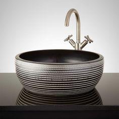 Albanel Hand-Glazed Vessel Sink - Metallic Gray - Vessel Sinks - Bathroom Sinks - Bathroom