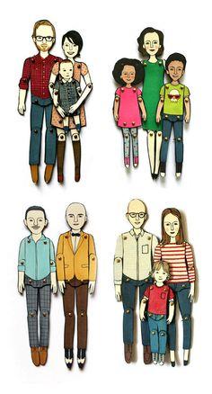 je gezin als papieren popjes