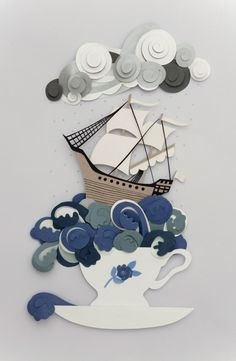 Storm in a Teacup paper art by Helen Musselwhite Kirigami, 3d Paper, Paper Quilling, Paper Cutting, Storm In A Teacup, Cut Out Art, Diy And Crafts, Paper Crafts, Paper Magic