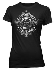 Volbeat Outlaw Gentlemen and Shady Ladies skull wings crest womens tee