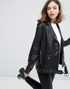 Oversized black faux leather perfecto jacket