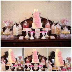 Pink Dessert Buffet... Girl baby shower, bridal shower, bridesmaid luncheon...