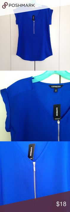 Cobalt Blue Express Shirt NWT Royal cobalt blue, silky, zip front, rolled sleeve shirt from express. The zipper is a gold color. Size x small. Price is firm. Retail price is $39.90. Express Tops Blouses