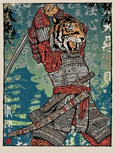 You like Samurai, Tigers and Posters? Then this is the one for you! 侍 虎 This print is the companion piece to our Samurai Tiger Attack Print. Check it out! Size: 18 x 24 inch / 6 Color Silk Screen (one is metallic Silver) + Split Fountain Gradient Background / French Natural Speckletone Paper Available at www.gigart.com