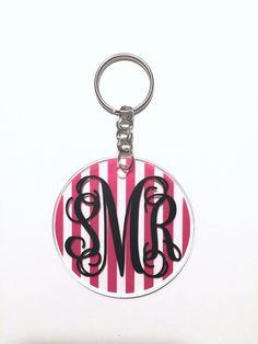 Stripe Monogram Keychain Custom Keychain by DreamworksCreations