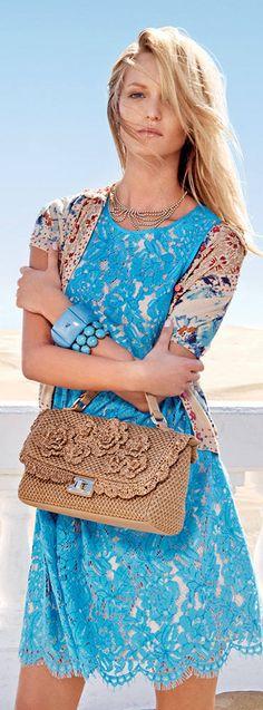 San Remo Light Blue Lace Dress