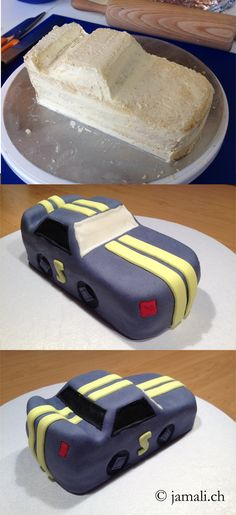 Auto Torte / Car Cake / Cake Dekor by Cindy Brütsch / www.jamali.ch (Cool Cakes Without Fondant)