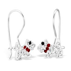 Sterling Silver Hoop Earrings With Crystal Scottie Dog  #sterling #silver #rings #925 #boxed #birthday #womans #kids #childrens #girls