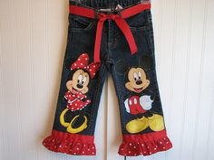 Totally LOVE her work!  She hand paints all the clothes!    Custom Disney Clothing Minnie Mickey n Friends  by Babykid35, $44.99