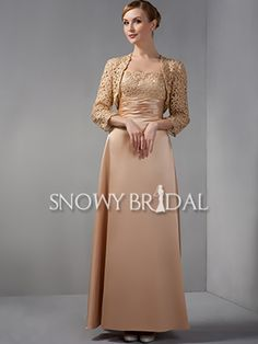 With Jackets Lace Satin Floor Length A-Line Mother of Bride Dress - US$ 141.99 - Style M1555 - Snowy Bridal