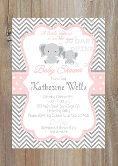 Grey and Pink Chevron baby shower invitation. by JCpartyprint, $9.00