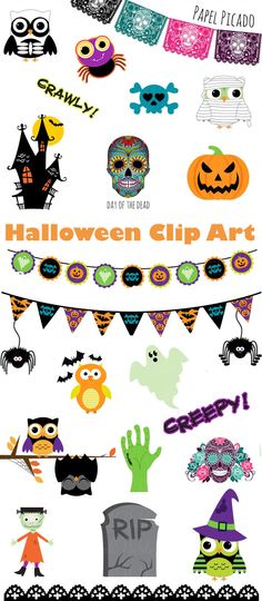 Halloween Clip Art by Luvly Holidays Halloween, Halloween Themes, Halloween Decorations, Halloween Clipart, Halloween Stickers, Batman Halloween, Happy Planner, Life Planner, Owl Classroom