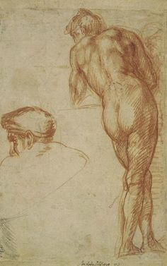 Andrea del Sarto (1486–1530), Study of a Nude Man Seen from Behind, Leaning on a Surface, and a Separate Study of His Head, ca. 1520. Red chalk, with some black chalk, 11 x 6 15/16 in. (27.9 x 17.7 cm), Recto . The British Museum; bequeathed by William Fawkener, 1769. © The Trustees of the British Museum