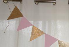 Rosa e oro triangolo Banner rosa e oro Pennant Banner
