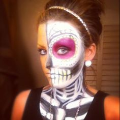 halloween facepaint skull makeup halloween pinterest skull makeup halloween face and halloween ideas - Skeleton Face Paint For Halloween