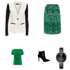 Groen Outfit outfit - Urban fashion - Bij deze outfit draait het allemaal om de kleur groen. De rok met print en de groene top, beide van MICHAEL Michael Kors, vormen de perfecte combinatie. De blazer van Vila geeft het geheel een stoer tintje. De schoenen van Michael Kors en het horloge van Calvin Klein maken de outfit af.