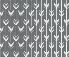 Set your aim on this quill-inspired combed-cotton print fabric—it would make lovely throw pillows. | Gray arrow fabric from @spoonflower
