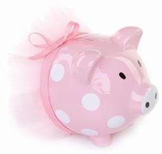 Mud Pie Pink Polka Dot Ballerina Ceramic Piggy Bank