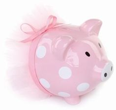 Mud Pie Pink Polka Dot Ballerina Ceramic Piggy Bank