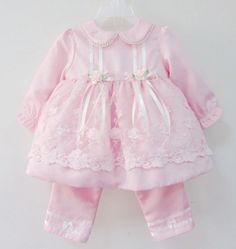 Beautiful Baby Girl Dress Suit + Pants fashion high grade longsleeve lace dress girl dress formal baby dress US $30.00