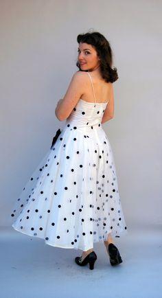 vintage 50's black dots tea length wedding dress $60