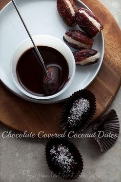Sweet dates are filled with coconut and covered in chocolate. #paleo #raw